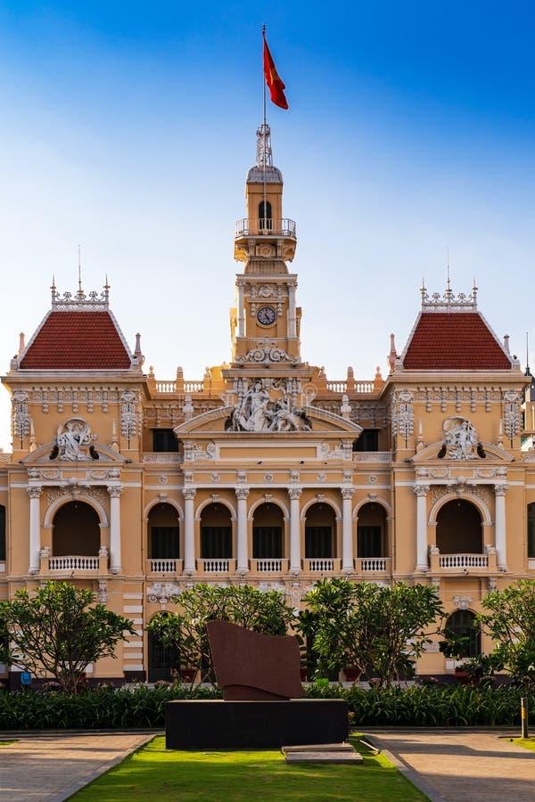 Городская ратуша Хошимина Сайгон, головной офис комитета людей города, Вьетнам стоковые изображения rf