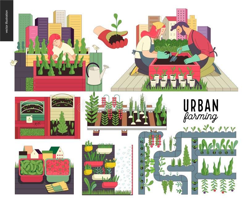 Городское сельское хозяйство и садовничая комплект бесплатная иллюстрация