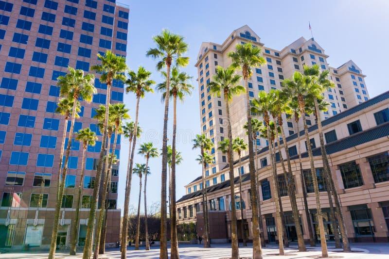 Городской ландшафт в городском Сан-Хосе, Калифорнии стоковое изображение