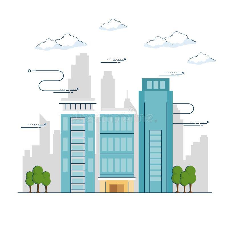 Городской ландшафт города иллюстрация вектора