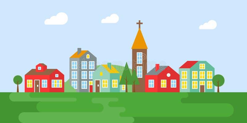 Городской ландшафт, деревня летом, плоским дизайном иллюстрация вектора