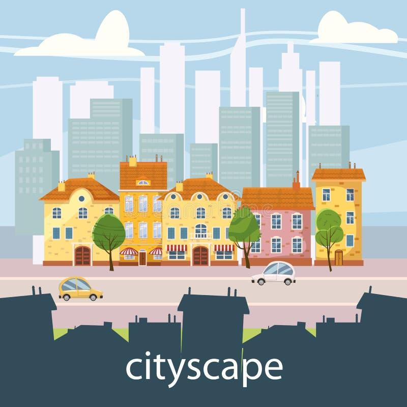 Городской ландшафт с большими современными зданиями и пригородом с частными домами Улица, шоссе с автомобилями Город концепции и бесплатная иллюстрация