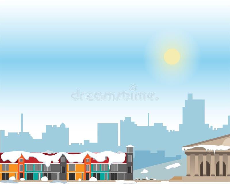 Городской ландшафт с большими яркими зданиями и пригородом с частными домами на предпосылке Зима иллюстрация вектора