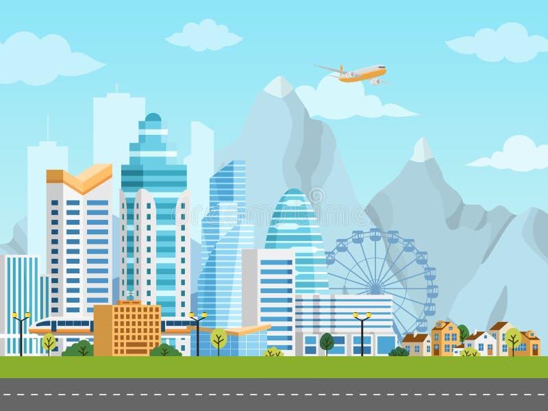 Городской ландшафт с городом и пригородом иллюстрация штока