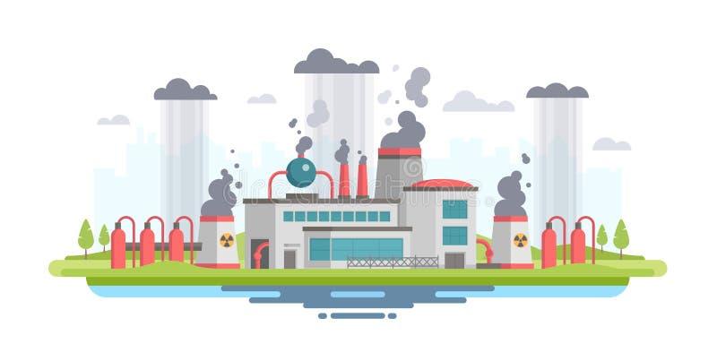 Городской ландшафт с заводом - современной плоской иллюстрацией вектора стиля дизайна бесплатная иллюстрация