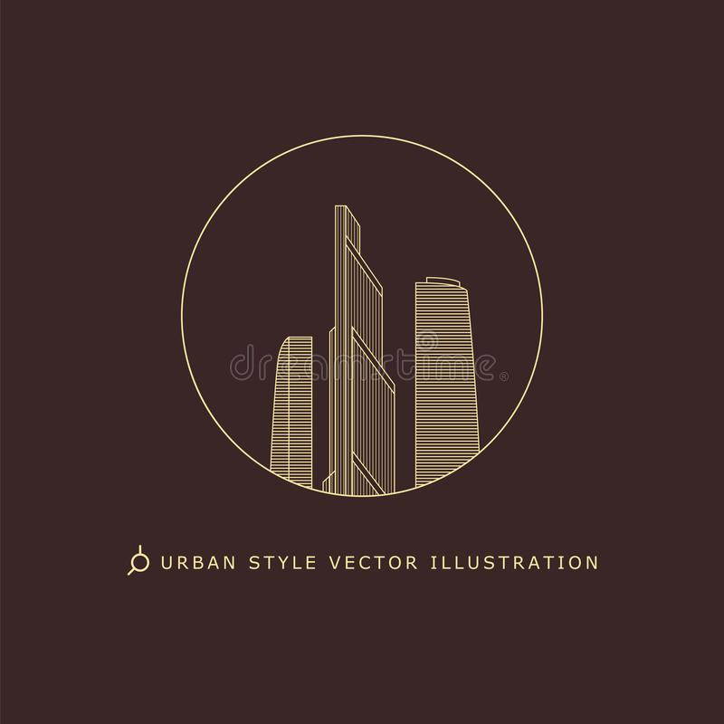 Городской логотип вектора стиля стоковые изображения