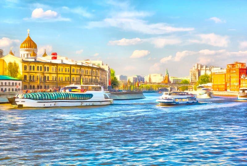 Городской пейзаж акварели Туристские корабли плавая на реку Москвы стоковая фотография rf