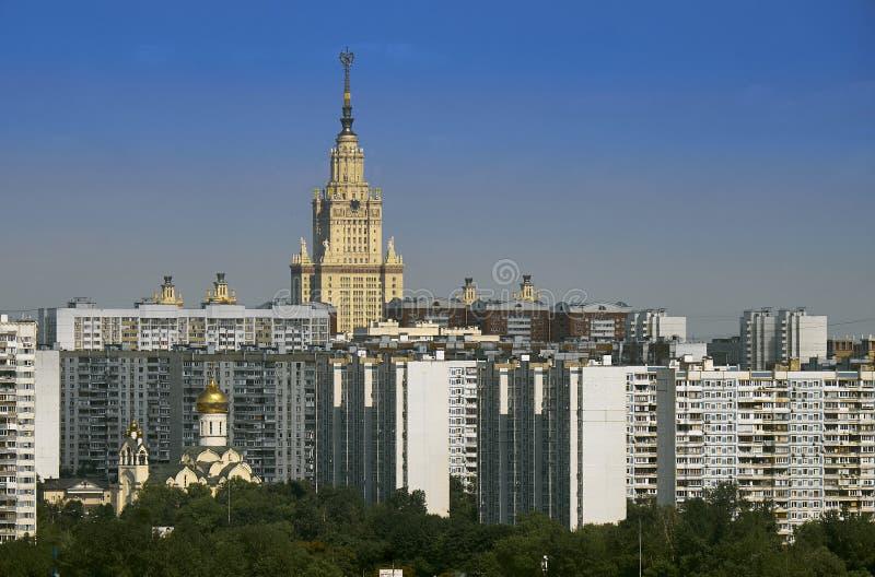 Городской пейзаж в районе Ramenki Москвы стоковая фотография rf