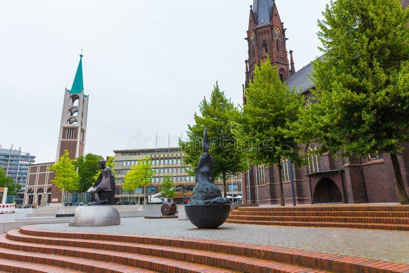 Городской пейзаж Гельзенкирхена Германии стоковые фотографии rf