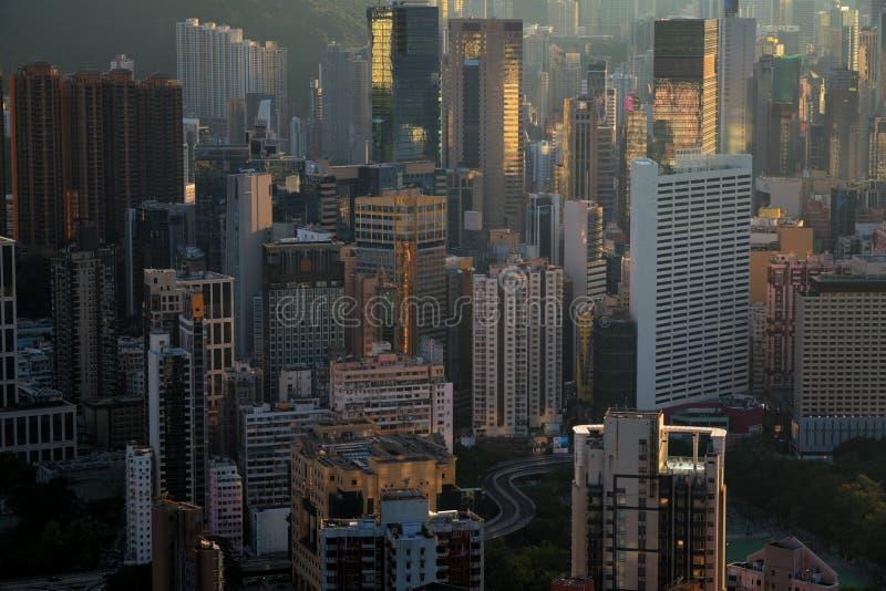 Городской пейзаж Гонконга от взгляд сверху стоковые фото