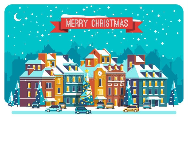 Городской пейзаж Город в рождестве ландшафт урбанский Иллюстрация вектора плоская иллюстрация штока