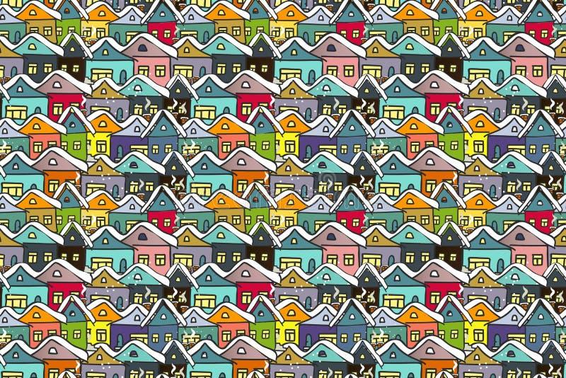 Городской пейзаж зимы Много вручают вычерченные пестротканые дома иллюстрация штока