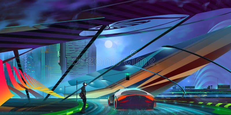 Городской пейзаж киберпанка вычерченной предпосылки ночи фантастический с автомобилем иллюстрация штока