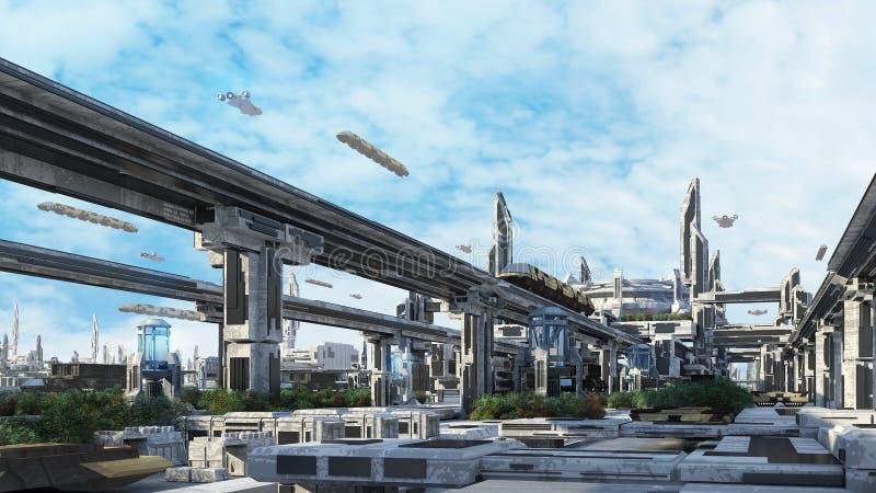 городской пейзаж концепции фантазии Scifi 3d стоковое фото rf