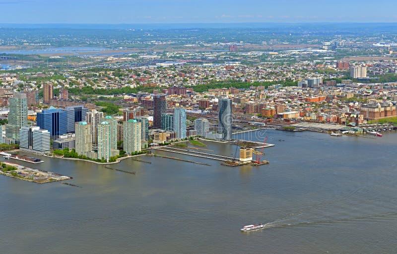Городской пейзаж на портовом районе Гудзона Hudson County, графство в u S государство Нью-Джерси стоковое фото