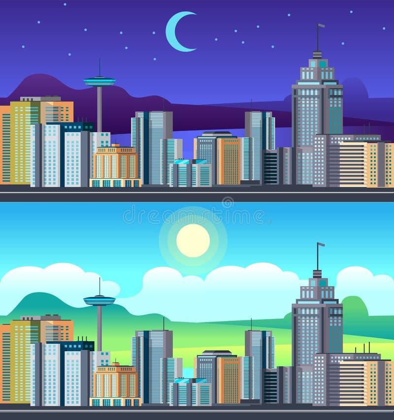 Городской пейзаж ночи дня Центр городского управления зданий, набор вектора времени дня гостиницы шланга квартиры urvan иллюстрация вектора