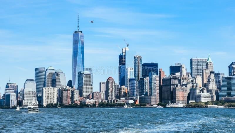Городской пейзаж Нью-Йорка и Гудзона стоковое изображение