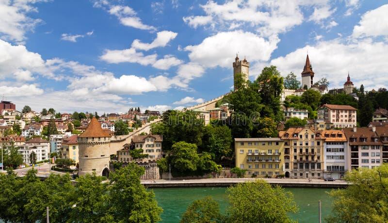 Городской пейзаж реки Luzern стоковое изображение rf