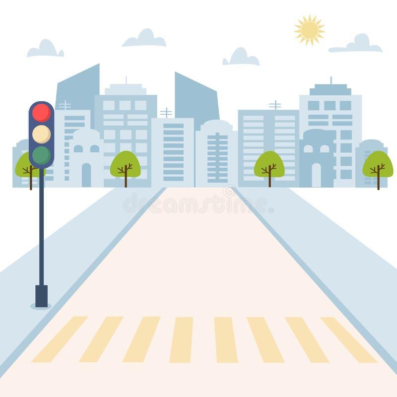 Городской пейзаж со светофором на дороге, домами, небоскребами Иллюстрация вектора городской предпосылки для плаката, карты, брош иллюстрация вектора