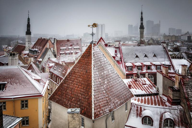 Городской пейзаж со средневековым старым городком, Таллином, Эстонией Красивый взгляд зимы высокорослого стоковая фотография