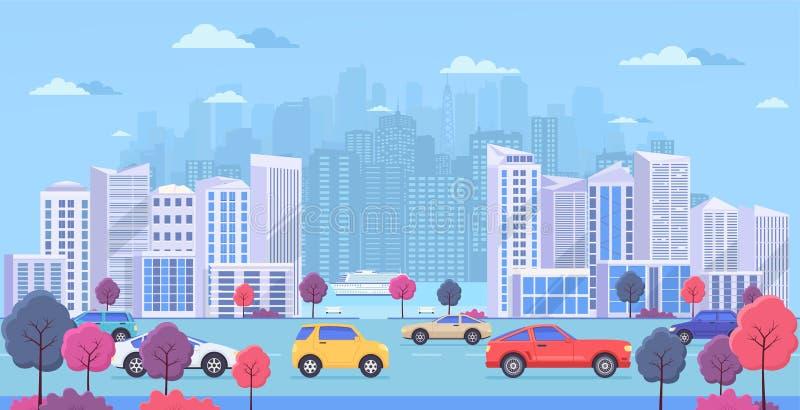 Городской пейзаж с большими современными зданиями, городским транспортом, движением на улице, парком с деревьями цвета и рекой иллюстрация штока