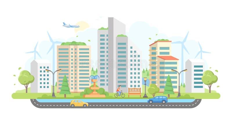 Городской пейзаж с ветрянками - современная плоская иллюстрация вектора стиля дизайна иллюстрация вектора