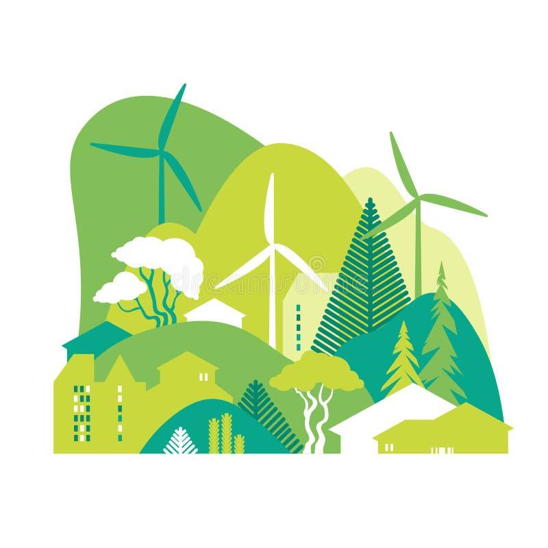 Городской пейзаж с зелеными холмами Консервация окружающей среды, экологичность, альтернативные источники энергии бесплатная иллюстрация