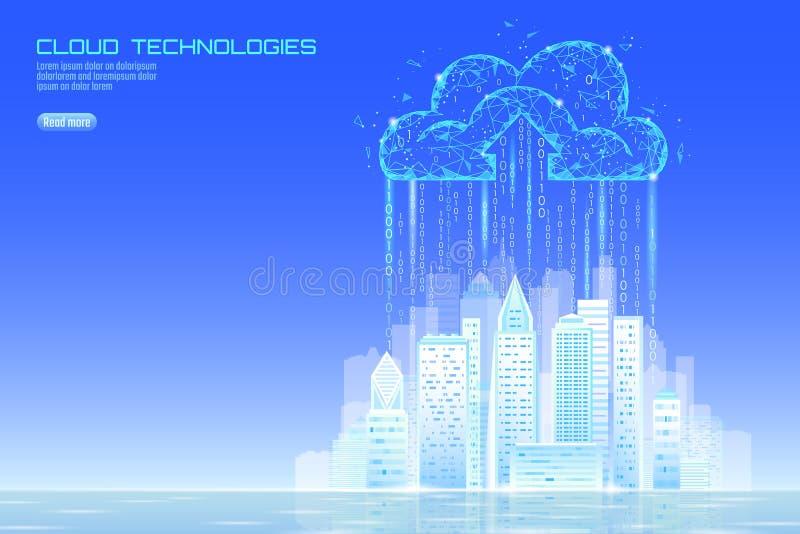 Городской пейзаж умного облака света города 3D вычисляя Дело умного хранения обмена данными здания большого онлайн футуристическо иллюстрация штока