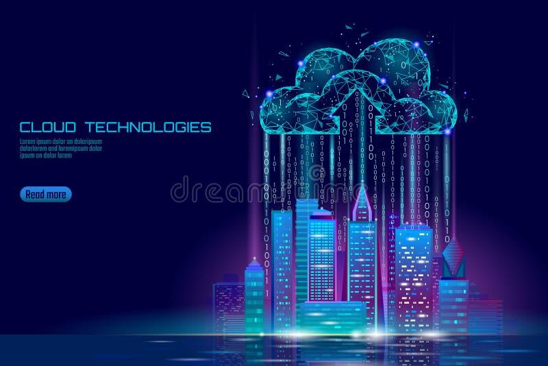 Городской пейзаж умного облака света города 3D вычисляя Дело умного хранения обмена данными здания большого онлайн футуристическо бесплатная иллюстрация