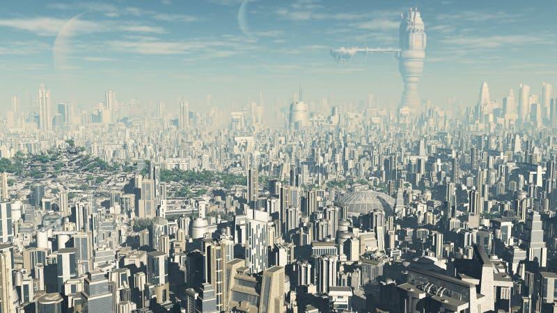 городской пейзаж футуристический иллюстрация штока