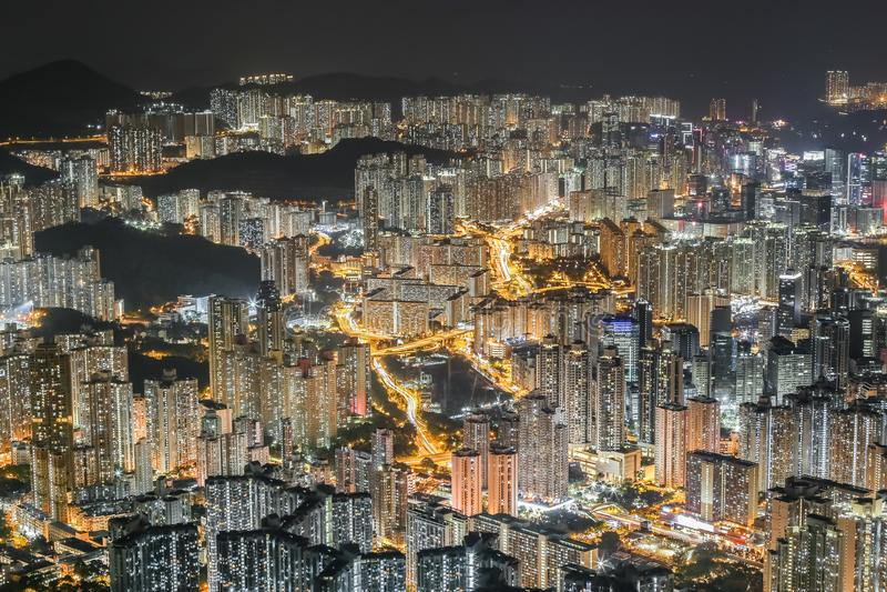 Городской пейзаж холма льва Гонконга стоковые фотографии rf