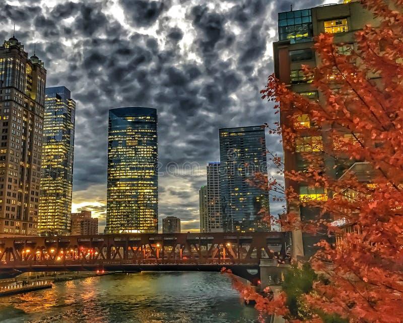 Городской пейзаж Чикаго осветил света ночи на отражательных зданиях и реку во время часа пик стоковая фотография rf