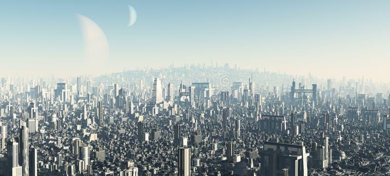 городской пейзаж 2 футуристический иллюстрация вектора