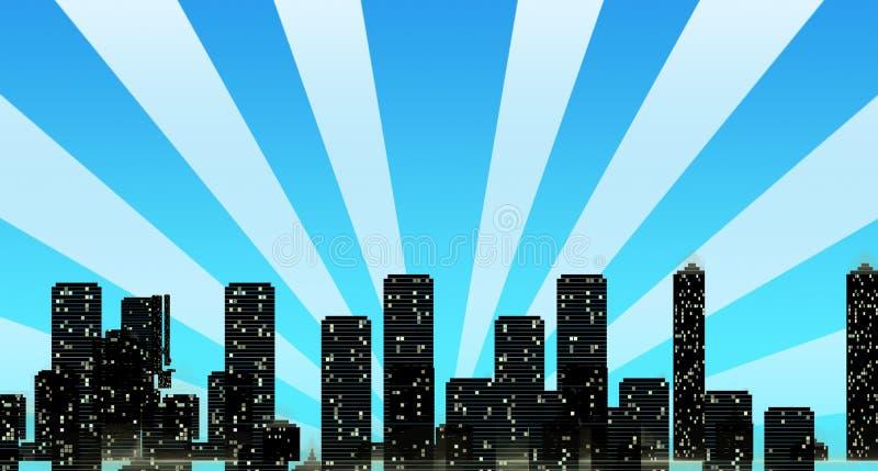 городской пейзаж buil overshadowing солнце горизонта лучей иллюстрация вектора