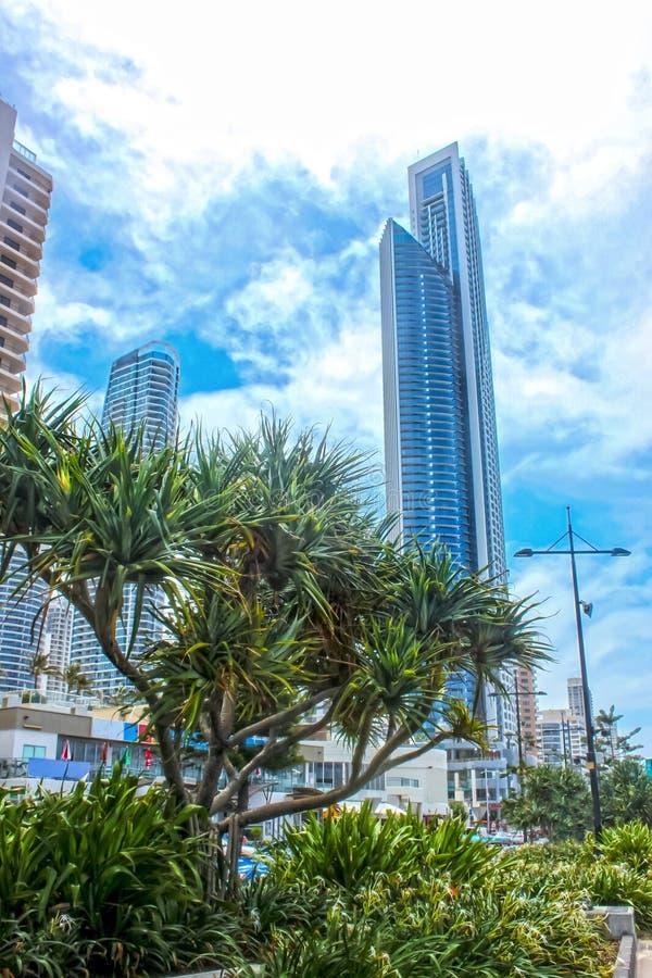 Городской пейзаж Gold Coast Queenland Австралии против пасмурного голубого неба стоковое фото rf