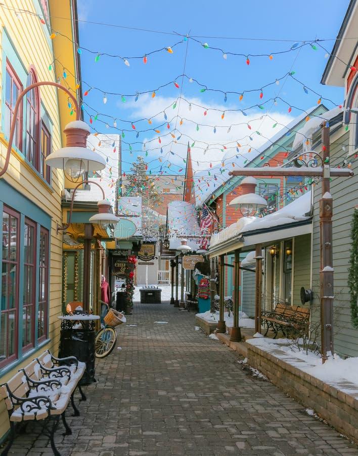 Городской переулок Breckenridge Колорадо стоковые фотографии rf