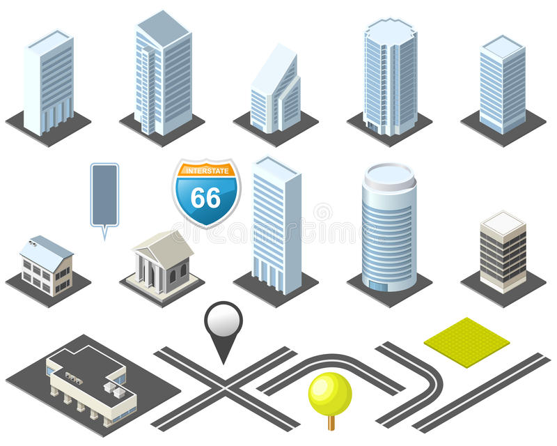городской равновеликий набор инструментов карты бесплатная иллюстрация