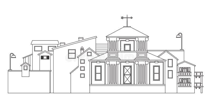 Городской силуэт ландшафта Контур изолированный вектором зданий города иллюстрация штока