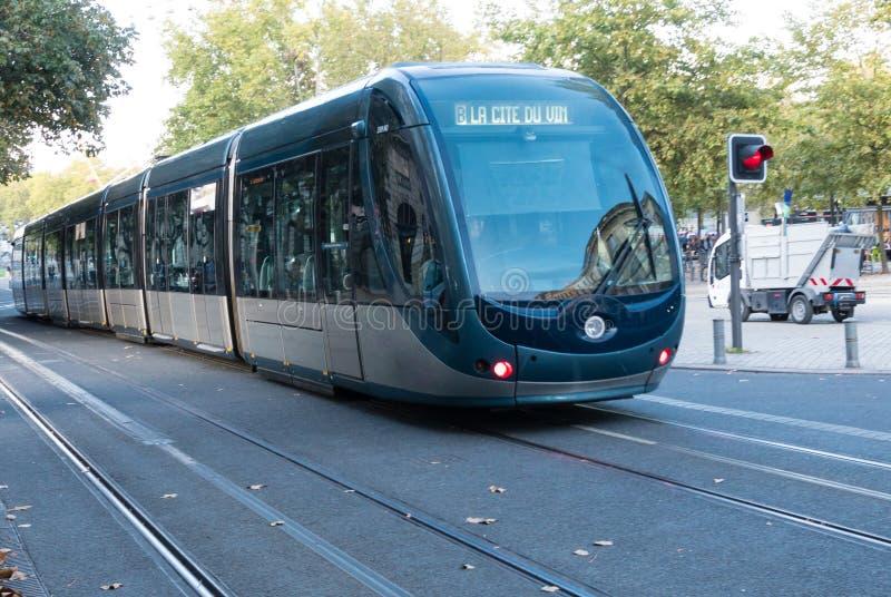 Городской трамвай вокруг города Бордо в Франции стоковые фотографии rf