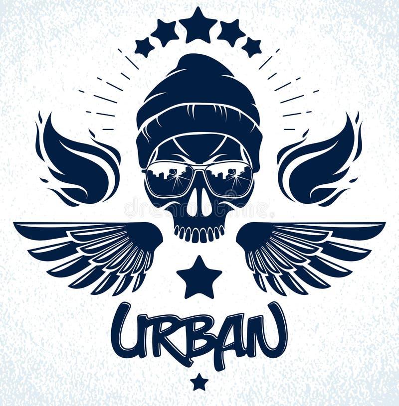 Городской череп стиля культуры в логотипе вектора солнечных очков или иллюстрации эмблемы, гангстера или бандита, хулигане хаоса  иллюстрация вектора