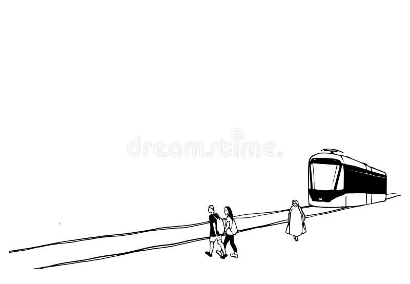 Городской эскиз трамваев и людей Черно-белая векторная иллюстрация cityscape иллюстрация штока