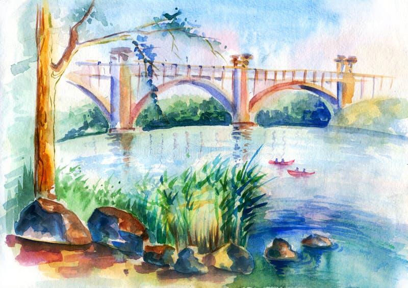Городской эскиз Watercolour реки моста иллюстрация штока