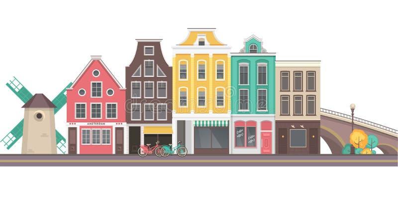 Город Амстердам вектора бесплатная иллюстрация