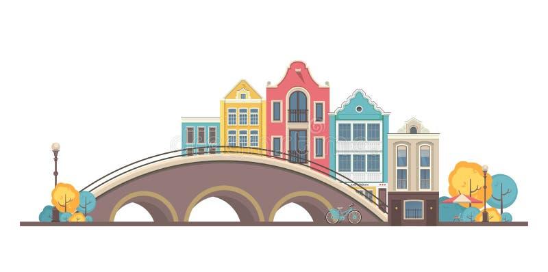 Город Амстердам вектора иллюстрация штока