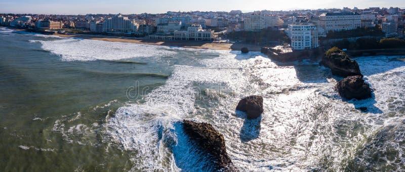 Город Биаррица и свои известные пляжи песка, Miramar и Plage Ла большой стоковые фотографии rf