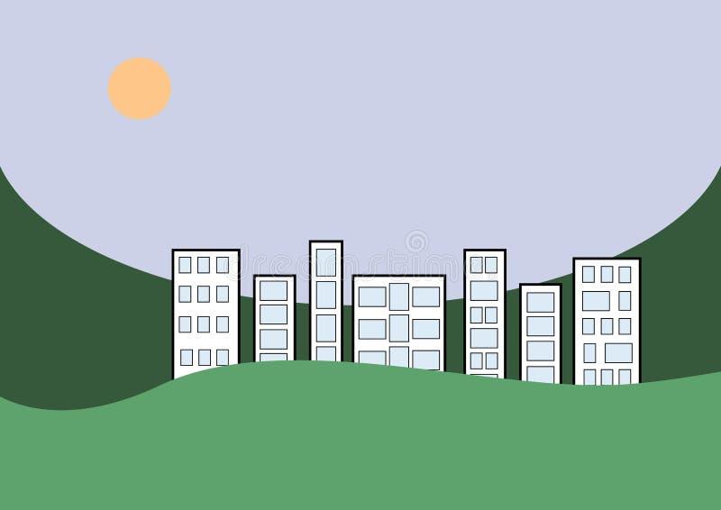 Город в зеленом ландшафте стоковые фотографии rf