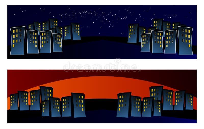 Город в ночи, знамя, красочное, сеть, предпосылка, иллюзия, сброс, синь, конспект, иллюстрация, вектор, новый, исключительный, иллюстрация вектора