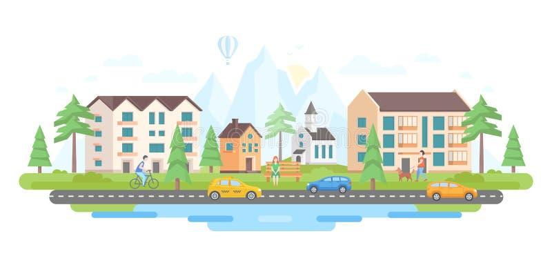Город горами - современная плоская иллюстрация вектора стиля дизайна иллюстрация штока
