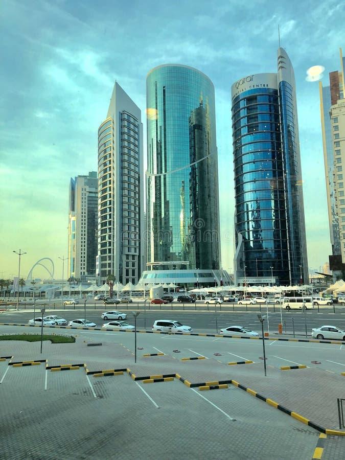 Город горизонта Дохи стоковые фотографии rf