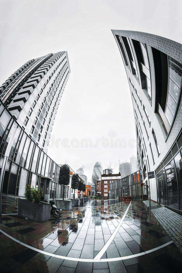 Город горизонта района Лондона финансового стоковые изображения